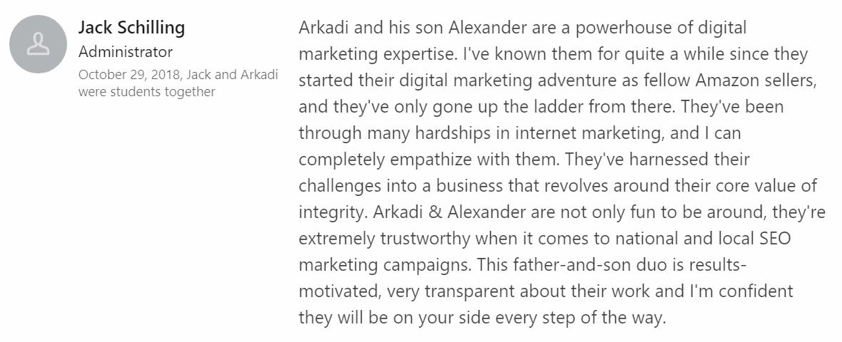 TADM Testimonial 15 on LinkedIn