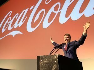 Alexander Velitchko, CEO of Triple Agent Digital Media, speaking on the main stage at Coca-Cola in Atlanta