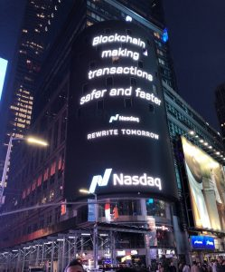 Picture of the Nasdaq Jumbotron in Times Square, taken by Alexander Velitchko